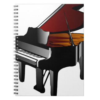 piano gloss black spiral note book