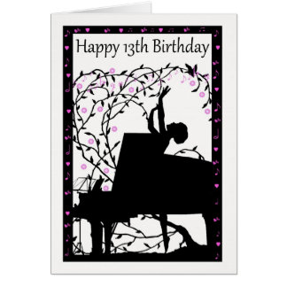 Piano Happy 13th Birthday Greeting Card
