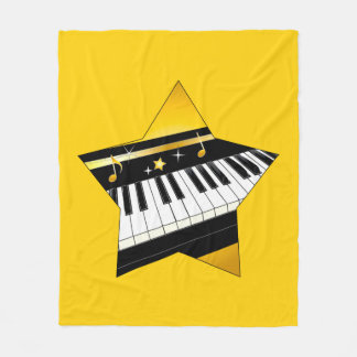 Piano in a Star Fleece Blanket