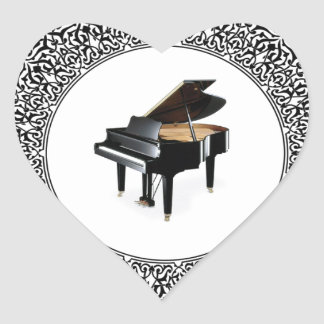 piano in round heart sticker