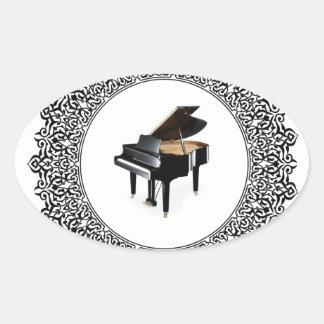 piano in round oval sticker