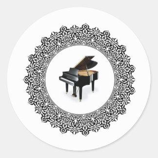 piano in round round sticker