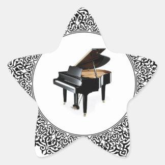 piano in round star sticker
