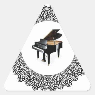 piano in round triangle sticker