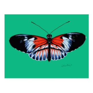 Piano Key Butterfly Painting with Black, Red Wings Postcard