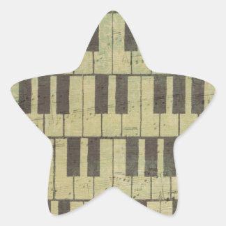 Piano Key Music Note Star Sticker