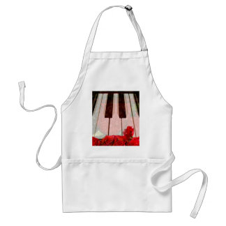 Piano key,Roses & Muisc notes_ Apron