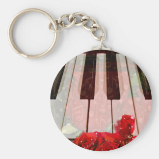 Piano key,Roses & Muisc notes_ Key Ring