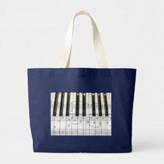 Piano Keyboard and Music Notes Large Tote Bag