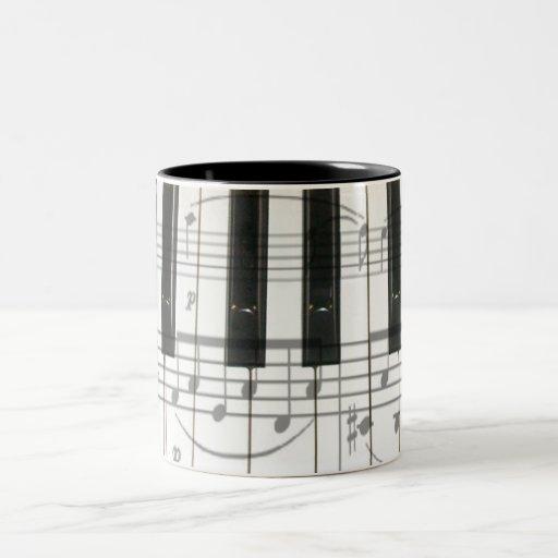 Piano Keyboard and Music Notes Mug