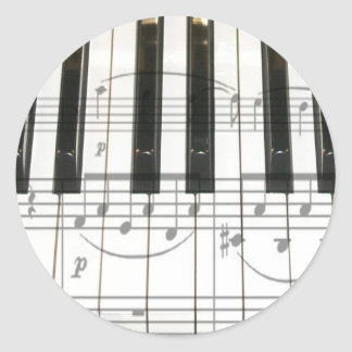 Piano Keyboard and Music Notes Round Sticker