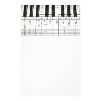 Piano Keyboard and Music Notes Customized Stationery