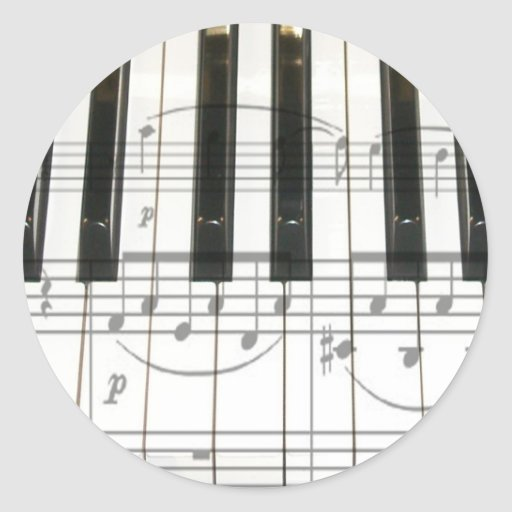 Piano Keyboard and Music Notes Stickers