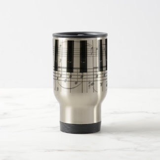 Piano Keyboard and Music Notes Travel Mug