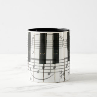 Piano Keyboard and Music Notes Two-Tone Coffee Mug