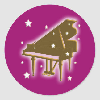 Piano Keyboard and Stars Classic Round Sticker