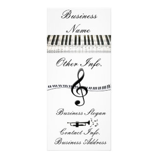 Piano Keyboard G-Clef and Trumpet Full Color Rack Card