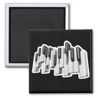 piano keyboard keys design square magnet