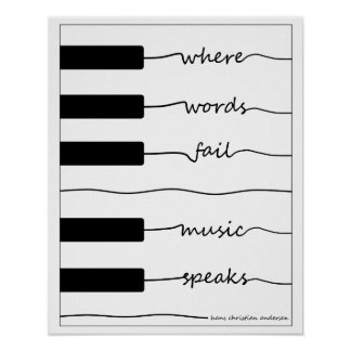 Piano Keyboard Poster with Inspirational Quote