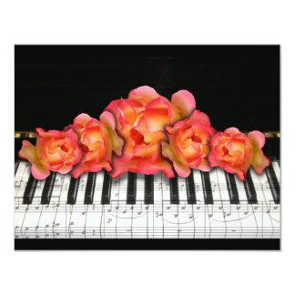 Piano Keyboard Roses and Music Notes Card