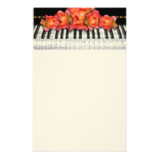 Piano Keyboard Roses and Music Notes Custom Stationery