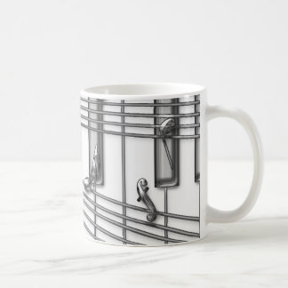 Piano Keyboard Silver Music Notes Coffee Mug