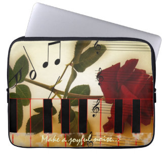 Piano Keyboard with Make A Joyful Noise Verse Computer Sleeves