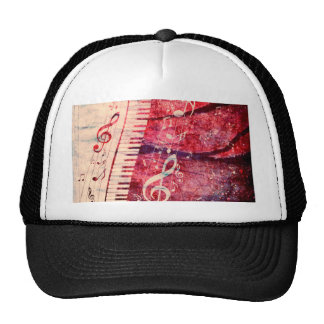 Piano Keyboard with Music Notes Grunge09 Cap