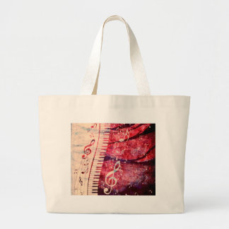 Piano Keyboard with Music Notes Grunge09 Large Tote Bag