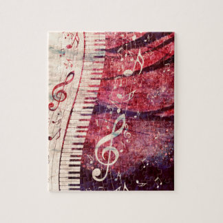Piano Keyboard with Music Notes Grunge09 Puzzle