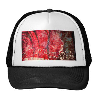 Piano Keyboard with Music Notes Grunge Cap