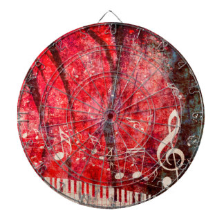 Piano Keyboard with Music Notes Grunge Dartboard