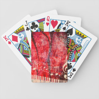 Piano Keyboard with Music Notes Grunge Poker Deck