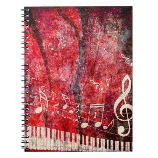 Piano Keyboard with Music Notes Grunge Spiral Note Books