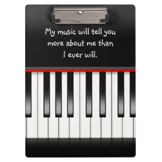 piano keyboard with quote clipboard