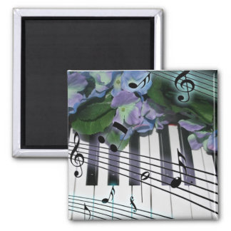 Piano Keys and Flowers Square Magnet