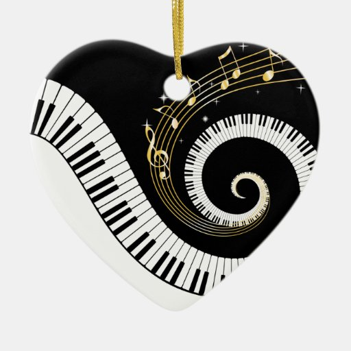 Piano Keys and Gold Music Notes Ceramic Heart Decoration