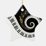 Piano Keys and Gold Music Notes Ceramic Star Decoration