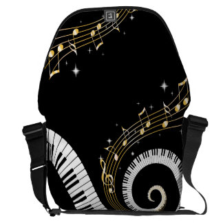 Piano Keys and Gold Music Notes Commuter Bag