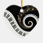 Piano Keys and Gold Music Notes Christmas Tree Ornament