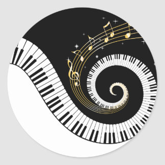 Piano Keys and Gold Music Notes Round Sticker