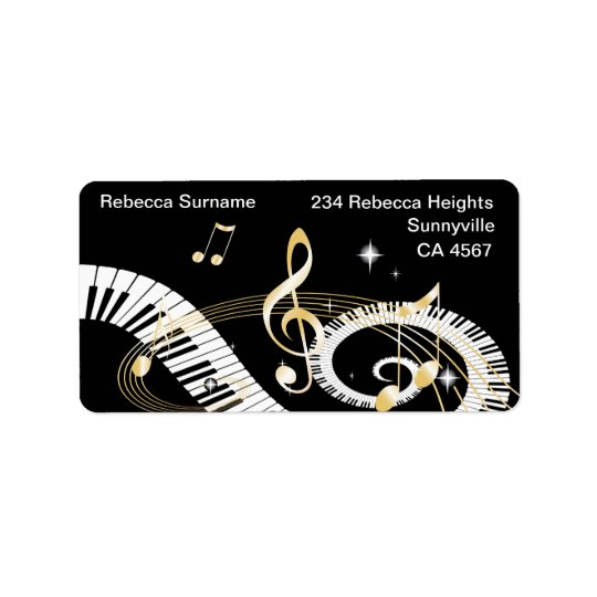 Piano Keys and Golden Music Notes Address Label