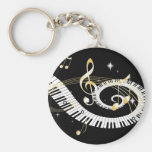 Piano Keys and Golden Music Notes Basic Round Button Key Ring