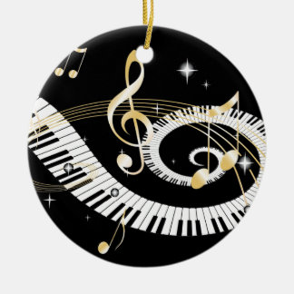 Piano Keys and Golden Music Notes Ceramic Ornament