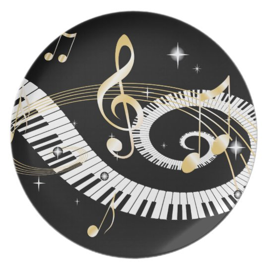 Piano Keys and Golden Music Notes Plate