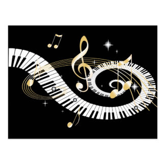 Piano Keys and Golden Music Notes Postcard
