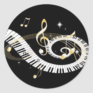 Piano Keys and Golden Music Notes Round Sticker