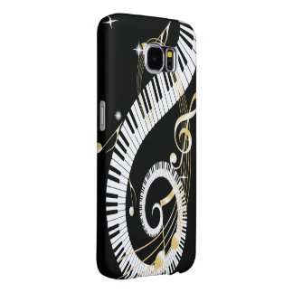 Piano Keys and Golden Music Notes Samsung Galaxy S6 Cases