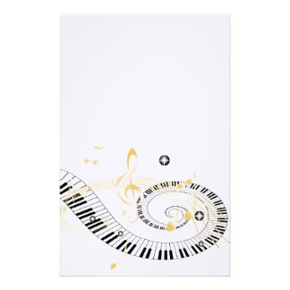 Piano Keys and Golden Music Notes Personalized Stationery