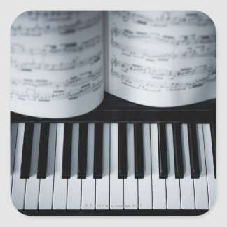 Piano Keys and Music Book Square Sticker